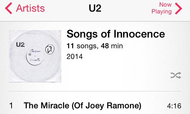Apple outrages users by automatically installing U2 album