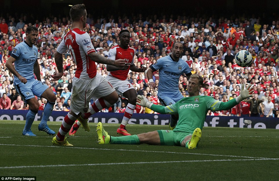 Arsenal midfielder Jack Wilshere beat Joe Hart from an acute angle to finish off a fantastic team move in the second half