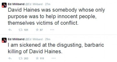 'Sickened': Ed Miliband said the aid worker 'was somebody whose only purpose was to help innocent people'