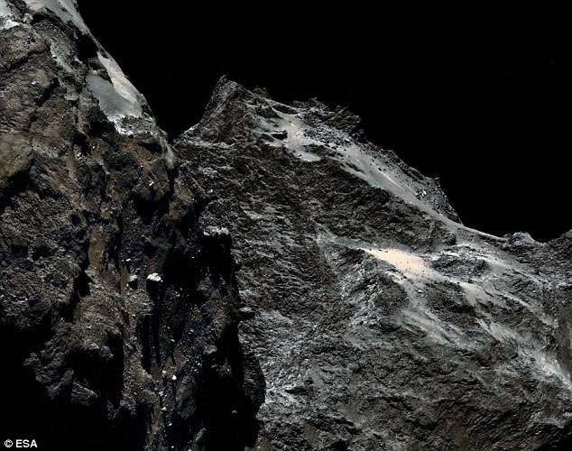 The reconstructed-colour image, taken about 10 days ago, indicates how dark the comet appears. On the average, the comet's surface reflects about four per cent of impinging visible light, making it as dark as coal