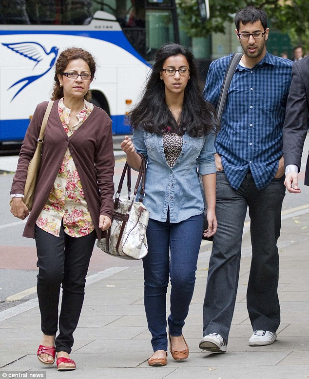 Shehnaz Reza, 53, (left) and her children, Zainab, 22, (centre) and Abbas, 26, (right), were found guilty of fraud charges at an earlier hearing. The jury could not reach a verdict on Zainab