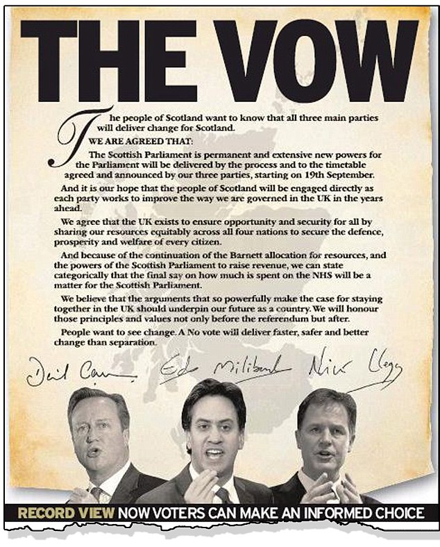 Pledge: This 'vow' was featured on the front page of the Daily Record today