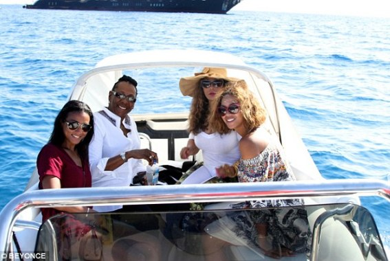 Inner circle: Beyonce's close friends and family were also on the trip, including her mother Tina (middle right)