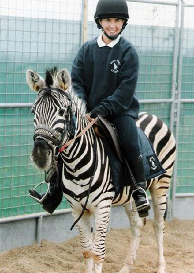 Nicky Davies riding Mombassa, the zebra that was sent from Longleat to work with 'whisperer' Gary Witheford