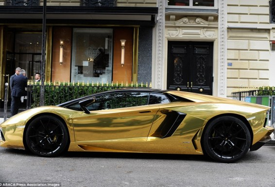 The car - which is valued at around £4 million and appears to be from Saudi Arabia - was parked outside the Plaza Athenee palace hotel on the luxury Avenue Montaigne