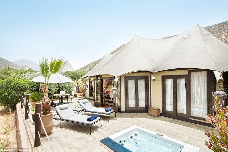 The height of luxury: each of Sir Richard's Berber tents has a king bed, terrace, view of Mount Toubkal, the Atlas' highest peak, and most come with a Jacuzzi