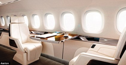Interior:A 30-foot-long cabin will seat up to 12 passengers in business-style comfort