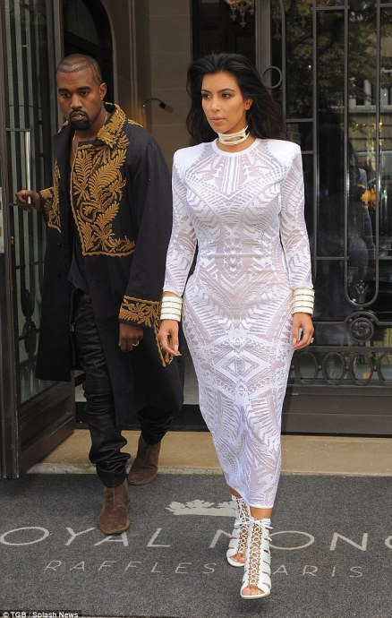 Reality royalty: Kanye followed in the trend with a regal military style coat with gold embellishment