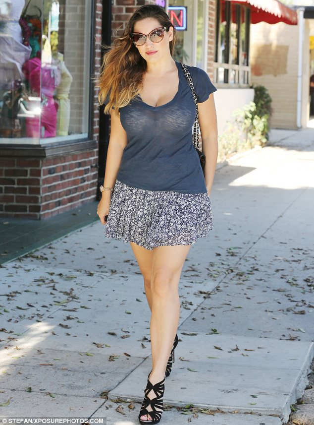 Sheer delight: Kelly Brook showed off her shapely figure as she took a stroll in Los Angeles on Thursday