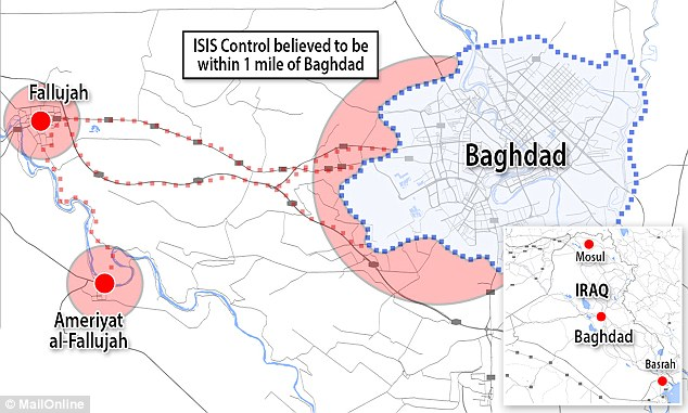 Location: The militants are understood to have had their advance halted by airstrikes yesterday at Ameriyat Al-Falluja yesterday - a small city about 18 miles south of Fallujah and 40 miles west of Baghdad. But the clashes did not force the bulk of the fighters - with many of them now having made their way to the Baghdad suburbs