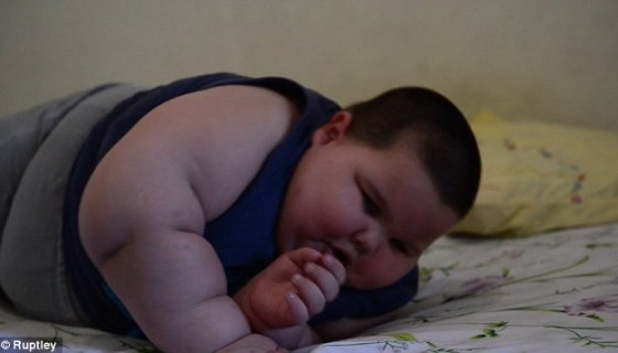 The three-year old Brazilian boy, known only as Misael, is said to weight 11 stone (154lb)
