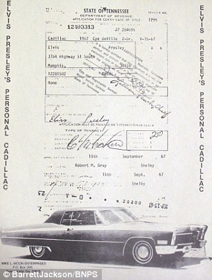 The sales document for Elvis Preserly's Cadillac with his name scrawled on the page
