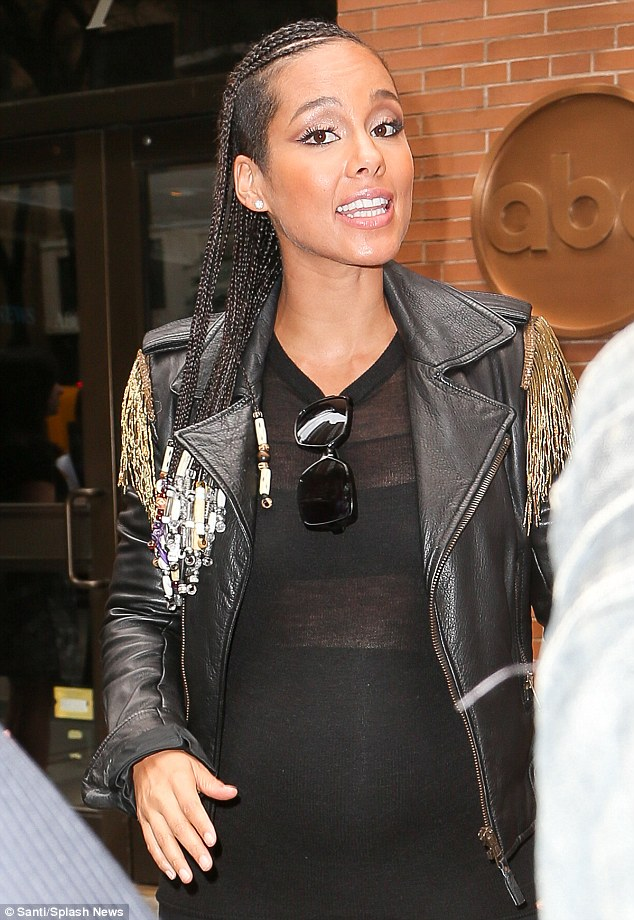Alicia Keys In Leather As She Reveals Baby Is Due On New