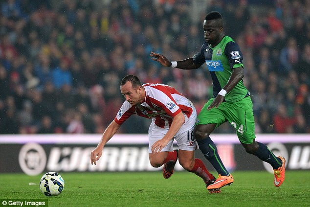 Newcastle midfielder Tiote played in Newcastle's 1-0 defeat against Stoke City on Monday night