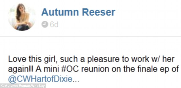 Love fest: Reeser shared her feelings after seeing Bilson and declaring it a mini OC reunion