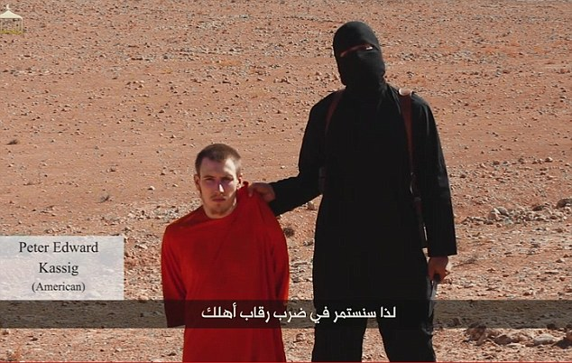 Former U.S. Army Ranger and Iraq war veteran Peter Kassig, 26, is believed to be the latest U.S hostage to be held by Islamic State militants in Syria after he featured at the end of Alan Henning's execution video (above)