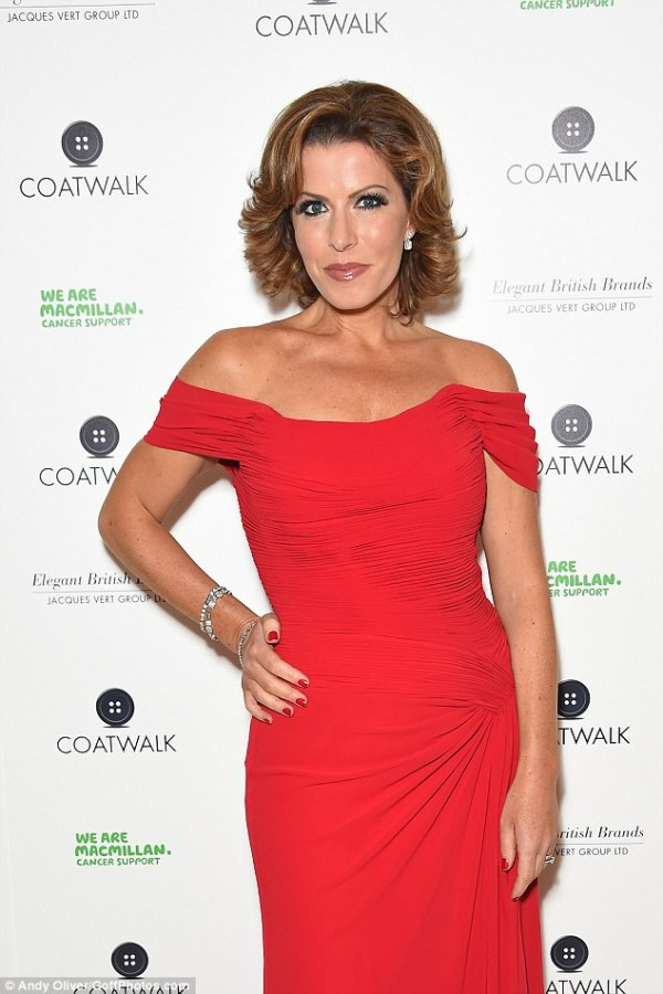 Natasha Kaplinsky in scarlet dress at Coatwalk fashion