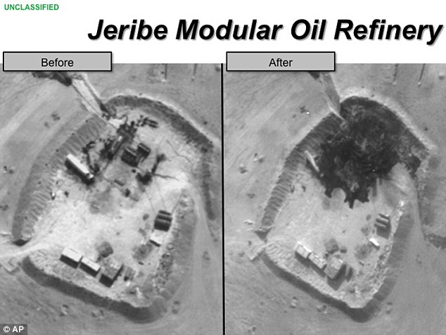 Aerial: The multiple waves of strikes have hit many high profile targets including the Jeribe Oil Refinery in Syria