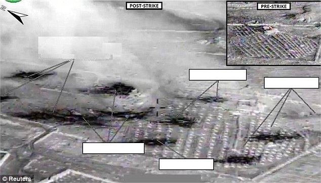 Destruction: An area US officials say was an ISIL vehicle staging center near Abu Kamal, Syria, is seen before (inset) and after it was struck