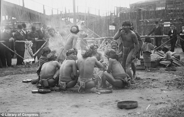 Spectacular: The Igorrotes lived a 'village' in the middle of Luna Park, Coney Island, as visitors gaped at the 'savages' in open-mouthed wonder