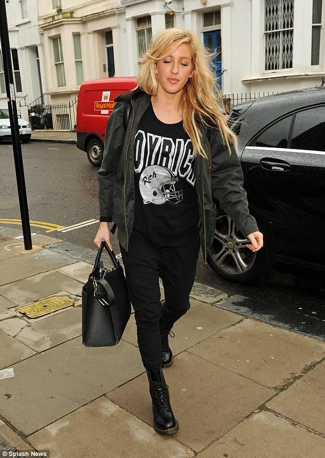 Ellie Goulding Rocks Printed Jersey And Black Doc Martens