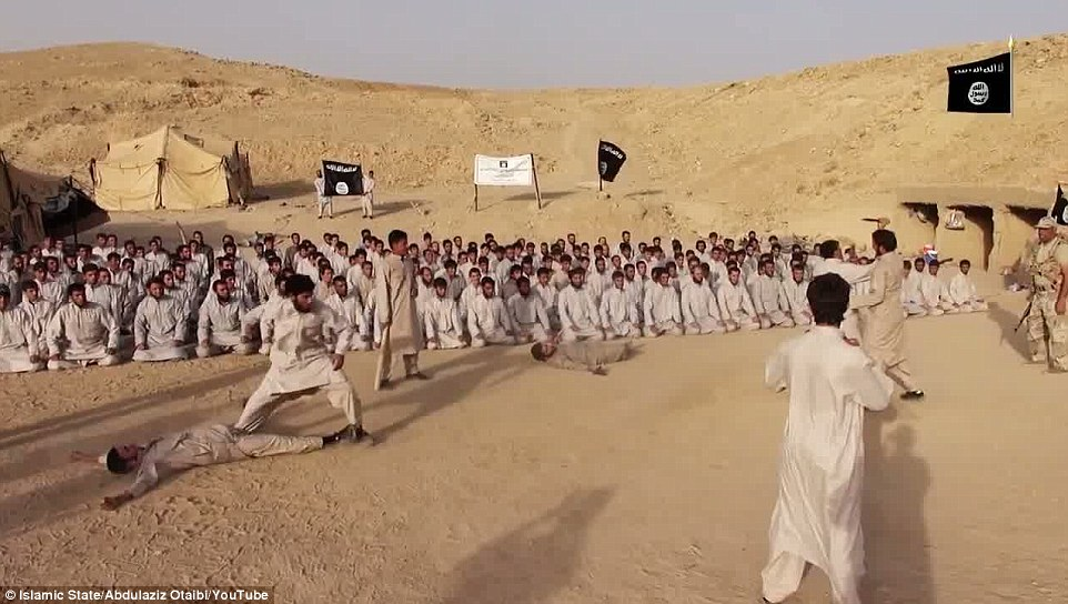 Learning to fight: The video posted on YouTube lasts six minutes and has Islamic chanting in the background