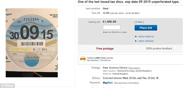 Car tax disc frenzy on eBay with some selling for nearly