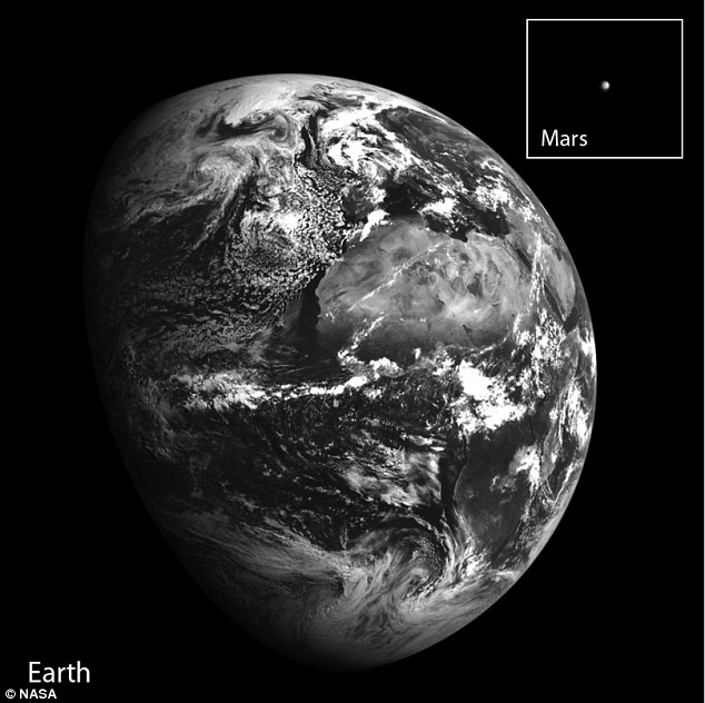 In the image Earth is about 234,062 miles (376,687 km) from the spacecraft. Mars, meanwhile, is 70 million miles (112.5 million kilometres) away - 300 times further than Earth. The images were built from rows of pixels taken by each of the cameras on Nasa's LRO spacecraft