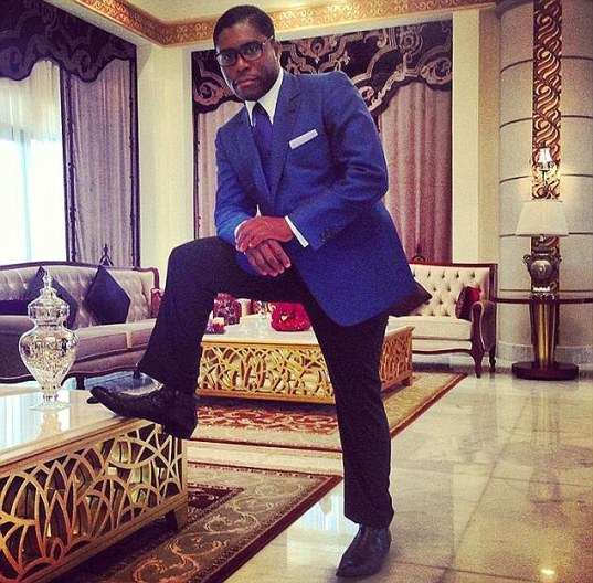 Playboy: Teodoro Nguema Obiang Mangue (above), the son of Equatorial Guinea president, must sell his Malibu mansion, a Ferrari and his Michael Jackson memorabilia under a settlement with the U.S Government