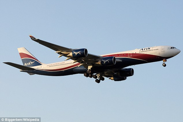 Scare: The passenger, 63, boarded an Arik Air plane out of Lagos, Nigeria, on Wednesday but passed away before the plane reached its final destination (file picture)