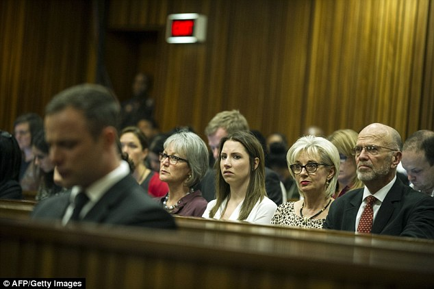 Aimee Pistorius (centre) casts a concerned look at her brother as he sobs in the dock during defence lawyer Barry Roux's closing arguments. She is accompanied by her aunt Lois (second right) and uncle Arnold (right)