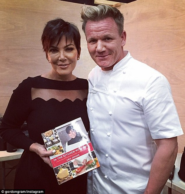 Just the way you are: Gordon posted a snap of the duo from the same event - but seemingly free of any filters - with the note: 'Great seeing you tonight @krisjenner, can't wait read the cookbook ! Gx'