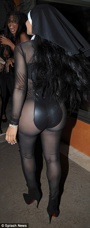 Turn around: Blac's pals seemed delighted with her out-there costume