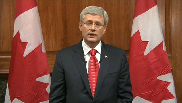 Addressing the nation: Prime Minister Stephen Harper (above) said Canada would not be intimidated by this 'terrorist' attack