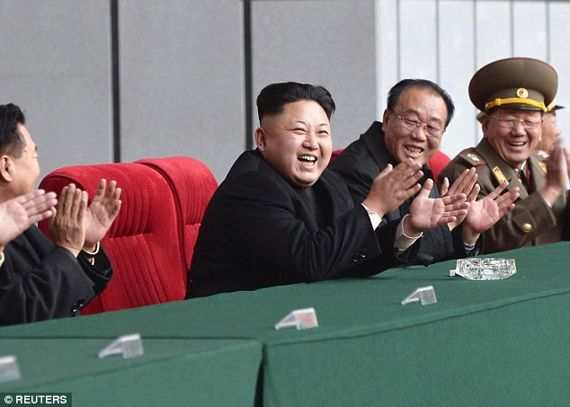Smiling dictator: North Korean leader Kim Jong-Un attends a women's football match in Pyongyang