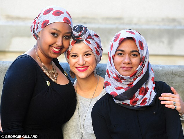 Ella Abubaker Farooq, 24 (left), Rukea Azougaye, 25 and Taslima Chowdhury, 21 (right) from London show off the new 'Poppy Hijab' in several styles
