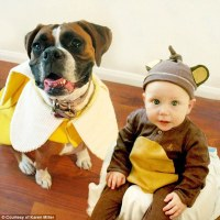 Boy and his pet dog coordinate their Halloween costumes ...