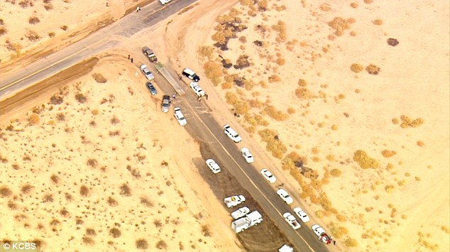 Cars and emergency vehicles line up near the crash site