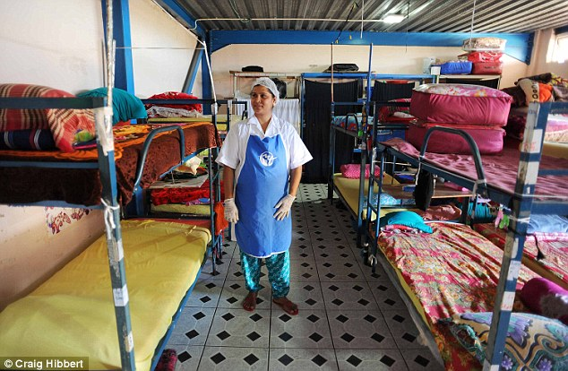 Sleeping conditions: One of the dorms used by the women with thin mattresses and a few shelves for their meagre belongings