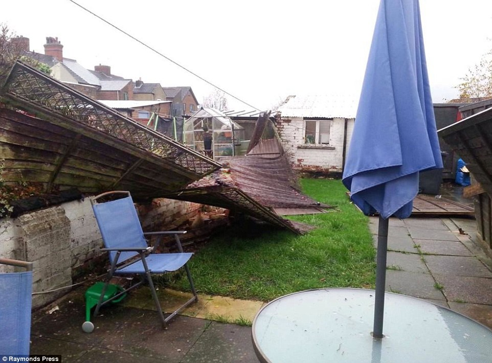 Freak weather:The tornado wrought havoc in Coalville, Leicestershire, this morning reaching the the town centre at around 7am