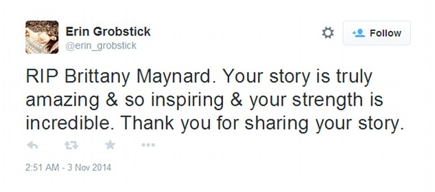 Inspirational: Another sad she was inspired by her story and strength and thanked Brittany for sharing it