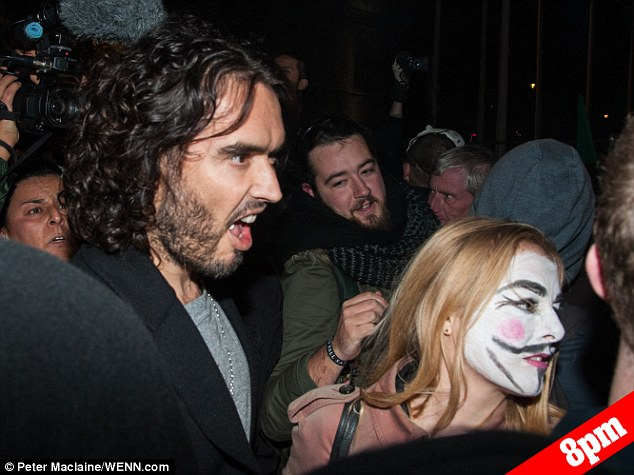 Russell Brand started the evening marching on the streets of London with anti-capitalist demonstrators