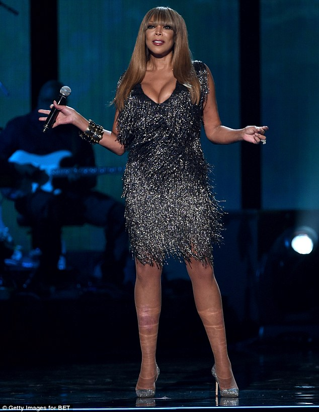 Quick change: Wendy opted to show more of her long legs by changing into a metallic fringe mini dress