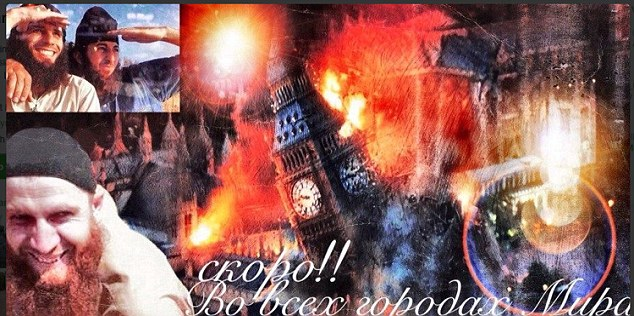 A disturbing image of Big Ben and Parliament exploding into flames was posted on Twitter last night by a notorious jihadi. Umar Shishani, pictured on the poster, who is fighting in Syria, also put up the message: 'Soon! In all cities of the world.'