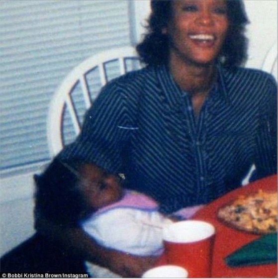 Baby girl: Bobbi - whose father is Bobby Brown - was just 18 when the seven-time Grammy winner drowned in the bath of her Beverly Hills Hilton suite in March 2012