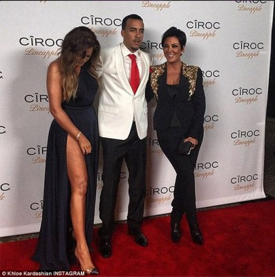 Standing by her man... again:Khloe, who herself turned 30 on June 27 - for which her then-beau gifted her with a white Jeep Wrangler worth an estimated $49,000 - posed on the red carpet with French and mom Kris