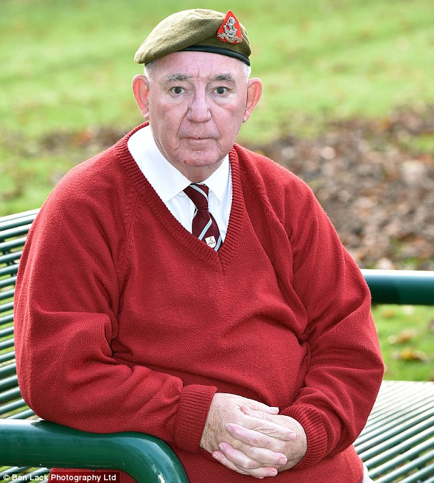 Army veteran: George Gill, 70, was assaulted as he walked to a cenotaph on Remembrance Sunday by a gang of thugs who tore off his regimental beret and medals