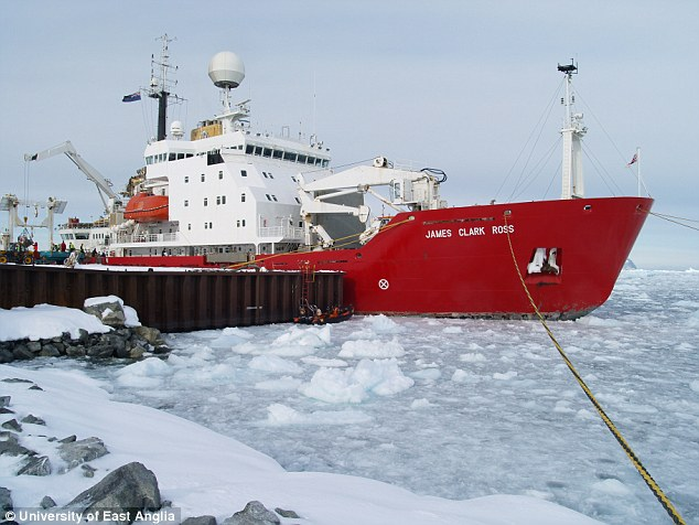 It is hoped that the findings, published today in Nature Geoscience, will help refine ocean and climate models, so scientists can more accurately predict the rate at which ice sheets will retreat and how quickly global sea level will rise as a result. A ship on the ice in the Weddell Sea is pictured