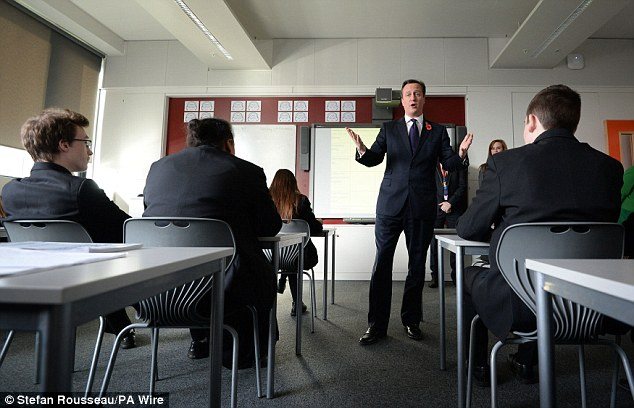 David Cameron teaches politics at Strood Academy in Rochester: He sparked outrage among victims of child sexual abuse after he called claims of an Establishment paedophile cover-up a 'conspiracy theory'