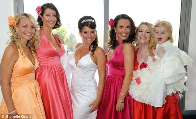 Happiest day: Michelle and Rebekah at Michelle's wedding. Michelle says the death has left her heartbroken